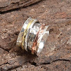 Spinner Band Rings, Anxiety Ring for Meditaion, 925 Sterling Silver Band, Brass and Copper Spinner Ring for Women, Gift Ring for Mother's Day