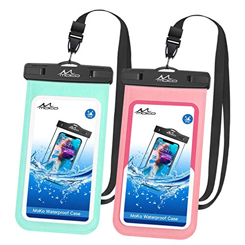 MoKo wasserdichte Handyhülle, 2 Stück Universal Handytasche mit Schlüsselband Kompatibel mit iPhone X/Xs/Xr//Xs Max, 8/7/6s Plus, Samsung Galaxy S9/S8 Plus, S7 Edge, Note 9/8, Magenta + Grün (Nokia At&t Windows Phone)
