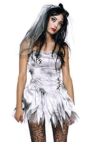 Lukis Damen Braut Teufel Zombiekostüm Halloween Cosplay Göttin Zombie Spiel Uniform Weiß Brust (Göttin Halloween)