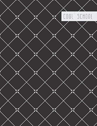 Cool School: Large College Ruled Notebook for Homework School or Work Black with Classy White Crisscross