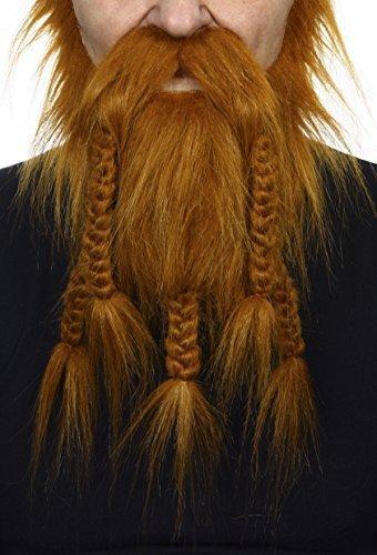 (Mustaches Rotoranger Wikinger- oder Zwergenr fälschen, selbstklebend Bart)