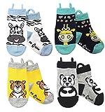 Calcetines de animales para niños, puntera sin costura, agarre antideslizante, bucles Ez pull up (1-3 años, Zebra/Giraffe/Tiger/Panda)