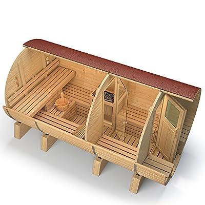 ISIDOR Fasssauna M4 deluxe 4,10, mit Espe-Saunaholz bei allen Innensitzbänken (schwarze Dachschindeln) von ISIDOR Holzbau bei Du und dein Garten