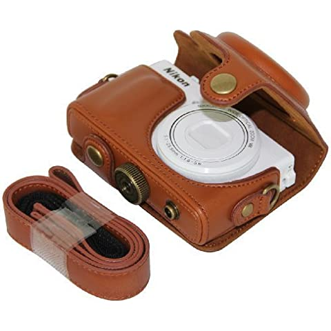 MegaGear Ever Ready–Funda para Cámara, de piel color marrón bolsa para Nikon Coolpix P330, Nikon COOLPIX