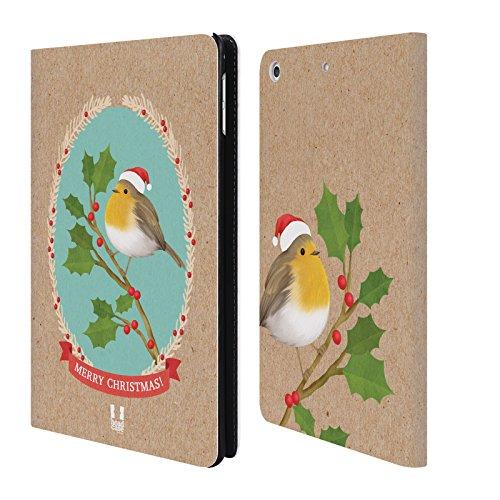 Head Case Designs Rotkelchen Weihnachtszeit Brieftasche Handyhülle aus Leder für Apple iPad mini 4