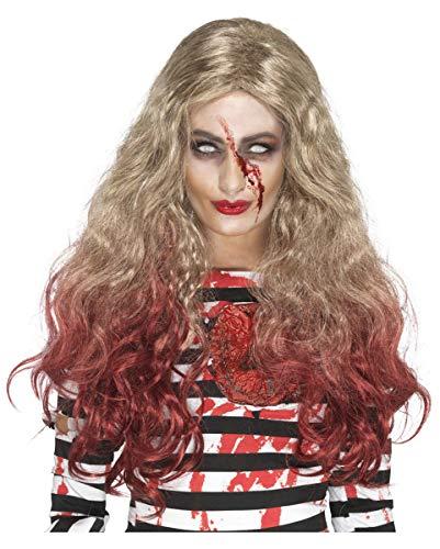 Horror-Shop Blutige Zombie Perücke mit roten Spitzen für Dein Untoten Kostüm an Halloween