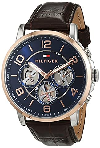 Tommy Hilfiger Mens Quartz Watch, multi dial Display and Leather Strap 1791290