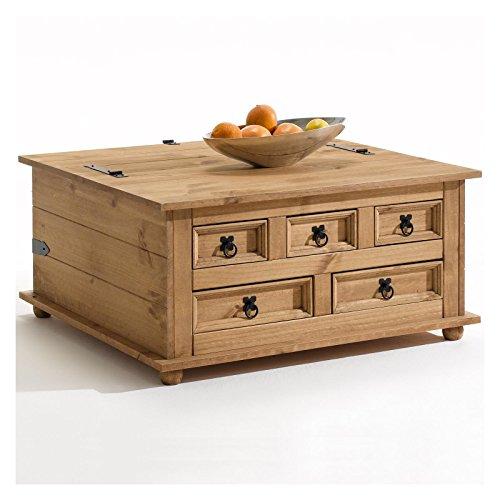 Mexico Möbel Truhentisch TEQUILA Couchtisch Truhe Wohnzimmertisch Beistelltisch im Mexiko Stil mit 5 Schubladen in natur