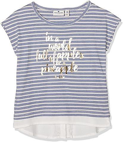 TOM TAILOR Kids Mädchen T-Shirt Striped Tee with Artwork, Blau (Deep Ultramarine Blue 6726), 164