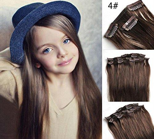 Romantic Angels® Extensions de cheveux à clips 100% naturel qualité Remy Hair 100g - 40cm Couleur:brun moyen#4