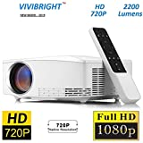 Jteck LED Mini Home Projector 1280x720 720P 2200 Lumens Home Theater Video Projector HD Supports 1920 * 1080 (C80 UP - Android Version) - Black
