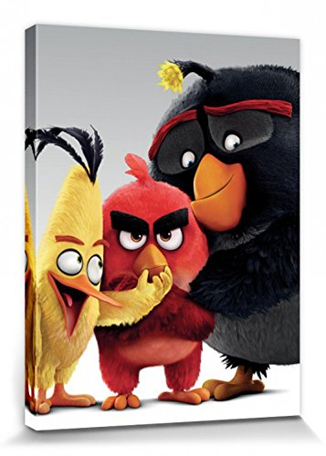 1art1 95419 Angry Birds - Red, Chuck Und Bomb Poster Leinwandbild Auf Keilrahmen 80 x 60 cm Videospiel-leinwand