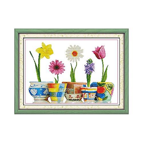 Anself Fai da te cucito a mano contato punto croce Set Kit 14CT coloratissimi Pot piante modello ricamo ricamo 65 * 47cm decorazione domestica