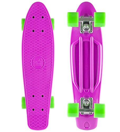 STAR-SKATEBOARDS® Vintage Cruiser Skateboard für Kinder und Erwachsene auch Anfänger ab ca. 6 - 8 Jahre ★ 22er Diamond Class Edition ★ Candy Lila & Gecko Grün
