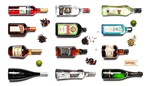 Lieferello - Bar-Set Grundausstattung gehoben Tequila Hennessy Martini Campari El Dorado Russian Standard Vodka Bombay Gin Grappa Cointreau Jack Daniel's Jägermeister Bar 40% Vol. - 12-teilig/1St