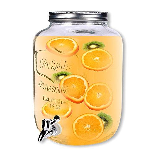 Schramm® Dispensador de bebidas de aproximadamente 8 litros con tapón de rosca Botella de botella Dispensador de jugo óptico de vidrio Wish