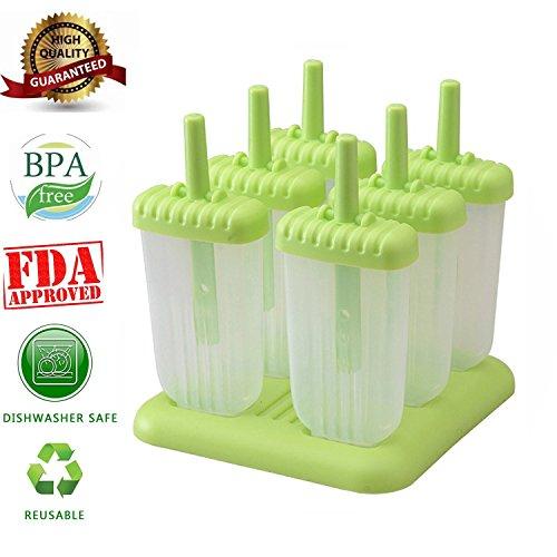 6 PC-Platz Design Ice Cream Pop Formen Maker Popsicle Formen Gefrorenes Eis Joghurt Jelly Pop Mold Popsicle Maker Lolly-Form-Behälter Pan-Set für Kinder / Kinder-Hot (green) (Obst-sticks Für Kinder)