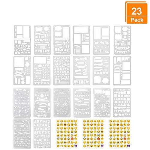 Lynlon Zeichenschablonen, 20 Stück und 144 Aufkleber für Journaling, Filofaxing, Scrapbooking, Kartenbasteln und für Kunst-Projekte, Tagebuch Schablonen -