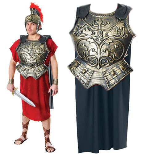 Mens Caesar Toga Roman Emperor Gladiator Chest Armour & Cape Fancy Dress Costume by Star55