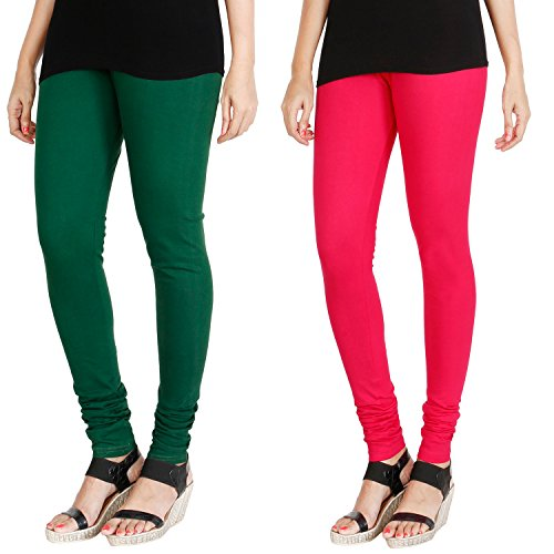 HRINKAR® BOTTLE GREEN DARK PINK Soft Cotton Lycra Plain Salwar leggings combo...