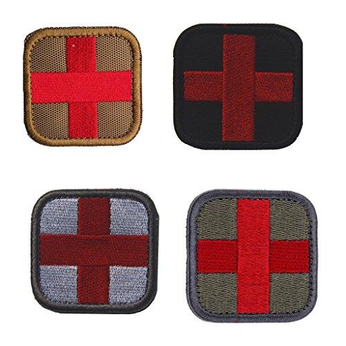 Sharplace 4 Stück Pack Outdoor im Freien Erste Hilfe Rotes Kreuz Patch Erste-Hilfe Beutel Rucksack Aufkleber Abzeichen