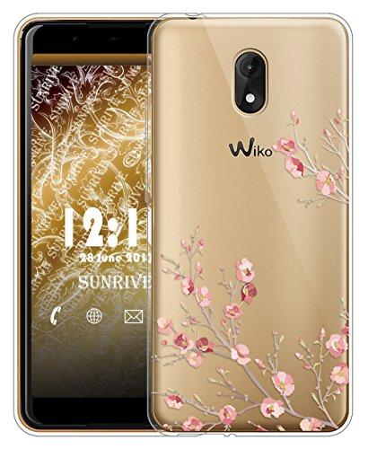Sunrive Für Wiko Lenny 5 Hülle Silikon, Transparent Handyhülle Schutzhülle Etui Case für Wiko Lenny 5(TPU Blume)+Gratis Universal Eingabestift