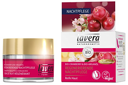 lavera Regenerierende Nachtpflege mit Phytocollagen ∙ Bio Cranberry & Arganöl ∙ Anti Falten Nachtcreme ∙ vegan  Bio  Naturkosmetik...