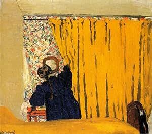 Peinture a l'huile - 24 x 21 inches / 61 x 53 CM - Edouard Vuillard - Le rideau jaune