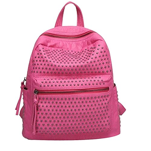 Klassische Niet College School Laptop Rucksack Umhängetasche Rucksak Für Frauen Multicolor Pink2