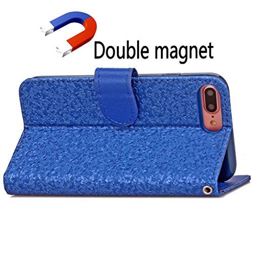 """Trumpshop Smartphone Case Coque Housse Etui de Protection pour Apple iPhone 7 Plus 5.5"""" (Série 3D) + Violet + Ultra Mince Smarphonetcoque Portefeuille PU Cuir Avec Fonction Support Anti-Choc Anti-Rayu Bleu"""