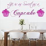 La vida es tan dulce como un Cupcake 1adhesivo decorativo para pared dormitorio cocina hogar, vinilo auto-adhesivo, azul claro, LARGE 1300x450MM