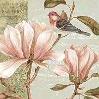 Feelingathome.it, STAMPA SU TELA 100% cotone INTELAIATA Magnolia Collage I cm 82x82 (dimensioni personalizzabili a (Malva Magnolia)