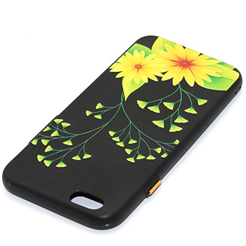 iphone 6S plus Silicone Cover, Custodia iphone 6 plus 5.5 Morbido, iphone 6S plus Nera Cover, Ekakashop Varnish Clear Coating Sollievo Painting Fiori Colorato Pattern 3d Gel Silicone Gomma Soft TPU Ra Ginkgo