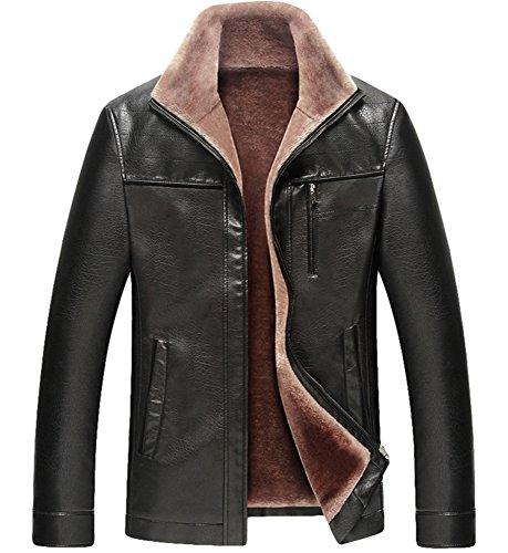 PLAER hommes mode fourrure épaisse entreprise veste en cuir Velvet Trench Coat Noir