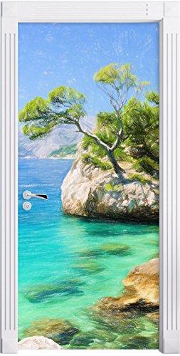 Preisvergleich Produktbild Wunderschöner Dalmatia Strand in Kroatien Kunst Buntstift Effekt als Türtapete,  Format: 200x90cm,  Türbild,  Türaufkleber,  Tür Deko,  Türsticker