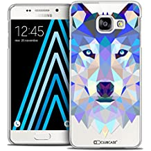 Caseink - Coque Housse Etui Galaxy A3 2016 (A310) [Crystal HD Polygon Series Animal - Rigide - Ultra Fin - Imprimé en France] - Loup