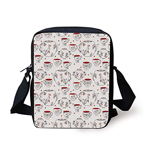 Berry Fun Dots (KLYDH Tea Party,Vintage Crockery Pattern with Swirled Floral Motifs Red Berries and Dots,Red Black White Print Kids Crossbody Messenger Bag Purse)