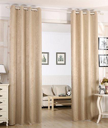 Woltu # 340–Cortina Cortina opaca, dkl cortina térmica con ojales, pesado Damasco cortina DKL cortina en Crushed Diseño, Shabby Chic Vintage, Champange, 135x245 cm