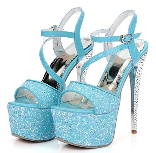YE Damen Extreme High Heels Glitzer Sandaletten Plateau mit Riemchen und Schnalle 16cm Absatz Party Pumps Blau