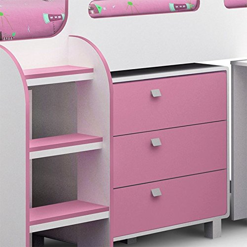 Happy Beds Kimbo White And Soft Pink Finished Sleep Station Childrens Kids Bunk Bed Frame 3' Single