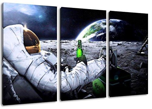 Astronaut auf Mond Motiv, 3-teilig auf Leinwand (Gesamtformat: 120x80 cm), Hochwertiger Kunstdruck als Wandbild. Billiger als ein Ölbild! ACHTUNG KEIN Poster oder Plakat!