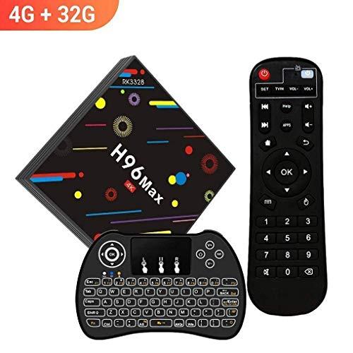 [2018 TV Box 4GB + 32GB] SINUK H96 MAX H2 Android 7.1 RK3328 Quad-Core Ultra HD smart Set-Top Box 2.4G / 5G Dual WiFi 100M LAN Ethernet BT 4.0 / 4 USB Ports / Mini Wireless Backlit Keyboard