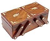 #5: ITOS365 Handmade Wooden Jewellery Box for Women Jewel Organizer Hand Carved Elephant Decor Gift Items