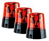 3Stk. Rundumleuchte Partylicht Spiellicht Feuerwehr Licht Rot Set