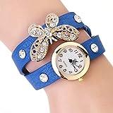 Deanyi Armbanduhr Frauen Mädchen Damen Stilvol Schmetterling Uhrenarmband eleganten Strass Quarz Armbanduhr mit eingebauter Batterie Blau Schmuck