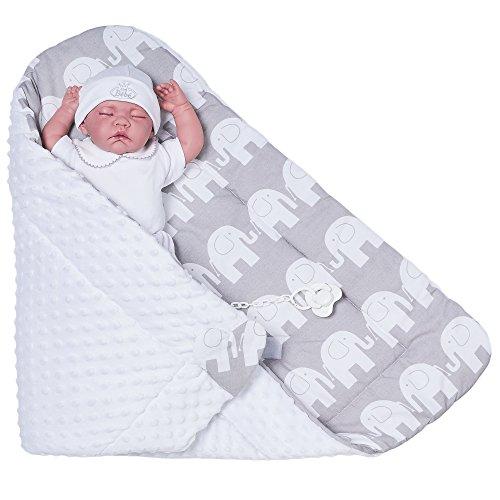 Sevira Kids Baby Jungen Schlafsack grau Éléphant Gris 80 x 80 cm
