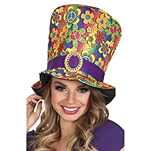 Boland BOL44523 sombrero de cilindro hippie, multicolor, adulto