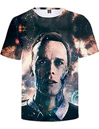 OLIPHEE Hombre Camisetas con Impresión Digital Cool Juego De Detroit para de Verano