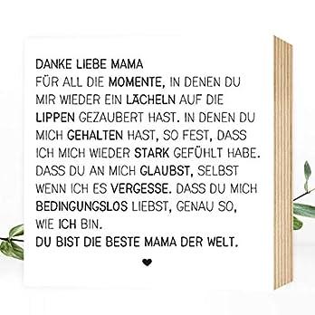 Wunderpixel® Holzbild Danke liebe Mama – v2 15x15x2cm zum Hinstellen/Aufhängen, echter Fotodruck mit Spruch auf Holz – schwarz-weißes Wand-Bild Aufsteller zur Dekoration/Geschenk – Danke-schön