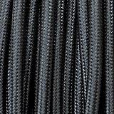 Cavo elettrico tondo rivestito in tessuto colorato per lampadari, lampade, abat jour. Il cavo elettrico diventa design! Scegli fra 30 colori. 10 Metri 2x0,75. Made in Italy! Nero